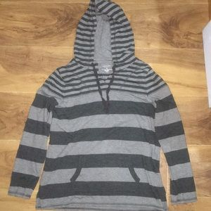 Sonoma Long Sleeved Grey Striped Hoodie..size Med